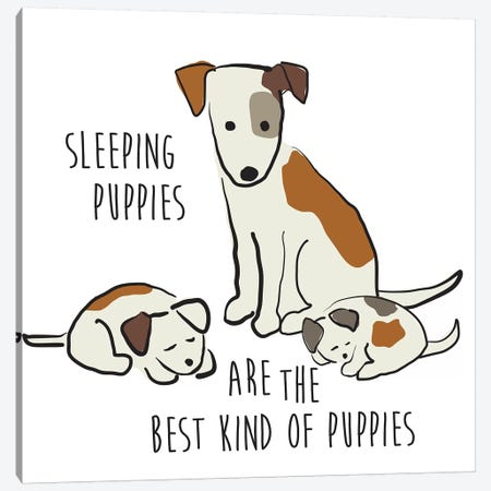 Sleeping Puppies Canvas Print #KRU122} by Kris Ruff Canvas Art