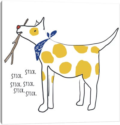 Spotted Dog With Words Canvas Art Print