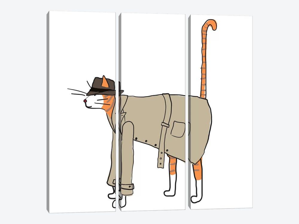 Detective Cat by Kris Ruff 3-piece Canvas Artwork