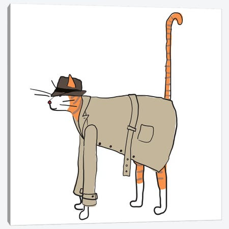 Detective Cat Canvas Print #KRU18} by Kris Ruff Canvas Artwork