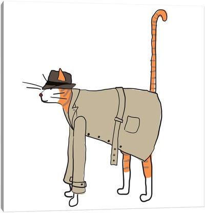 Detective Cat Canvas Art Print
