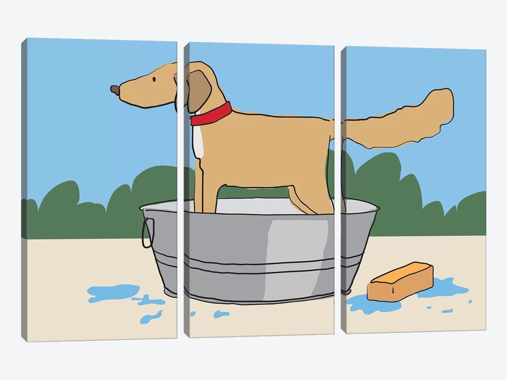 Dog Bath by Kris Ruff 3-piece Art Print