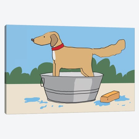 Dog Bath Canvas Print #KRU19} by Kris Ruff Canvas Artwork