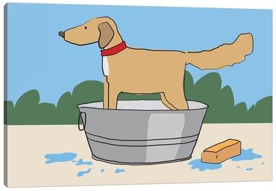 Dog Bath Canvas Art Print