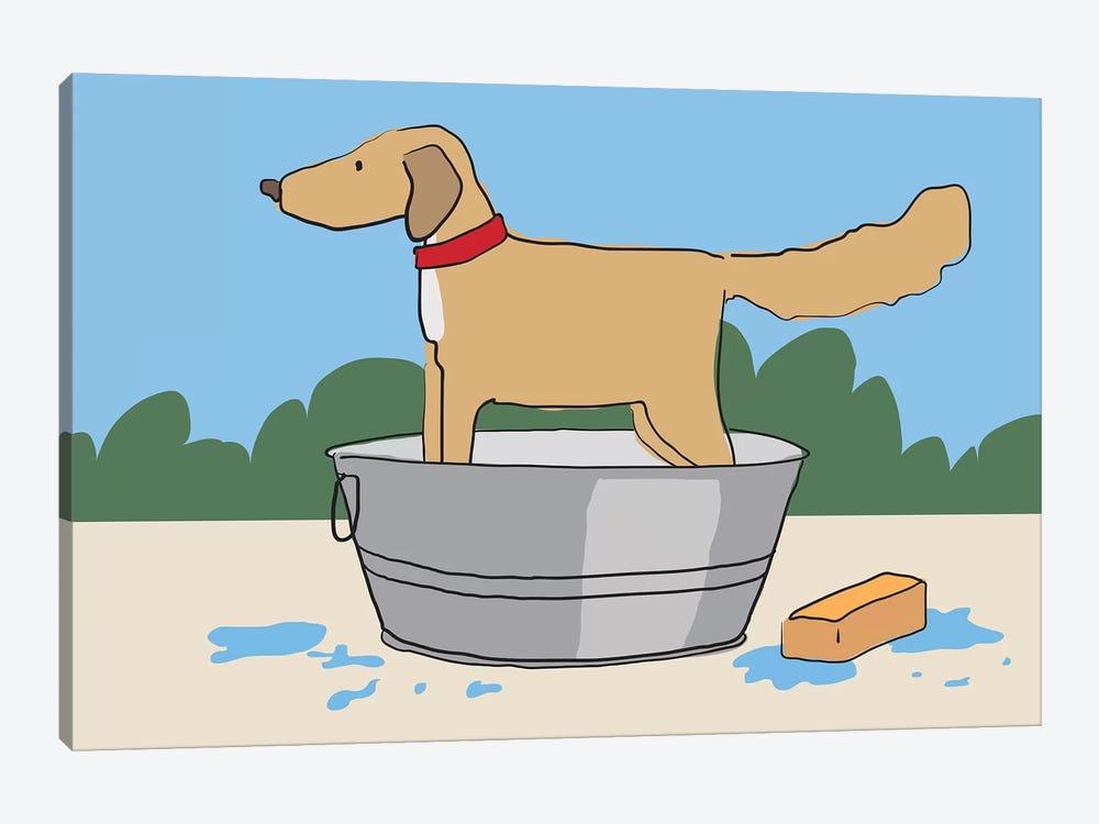 Dog Bath by Kris Ruff 1-piece Canvas Print