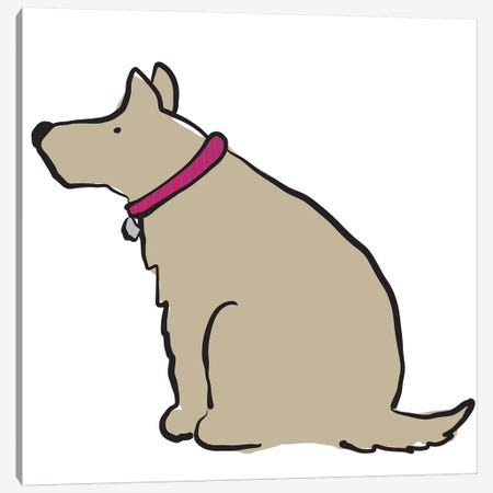 Dog With Striped Collar Canvas Print #KRU23} by Kris Ruff Canvas Print