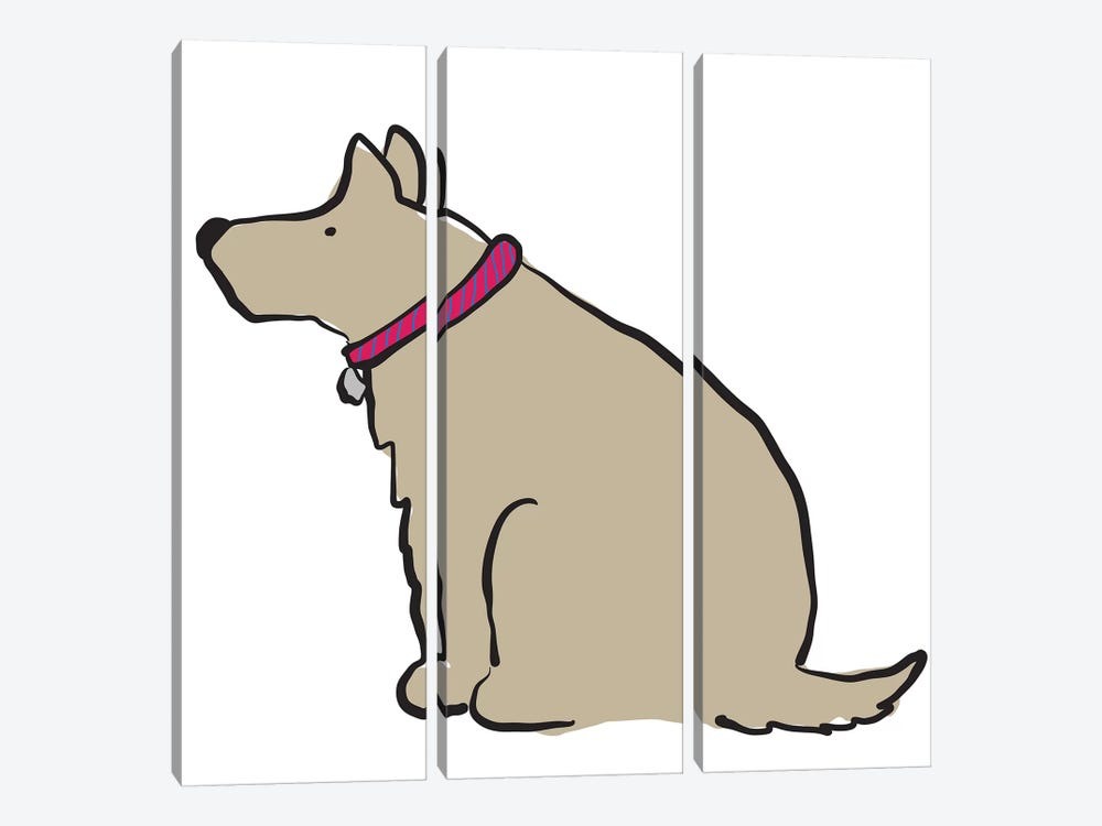 Dog With Striped Collar by Kris Ruff 3-piece Canvas Wall Art