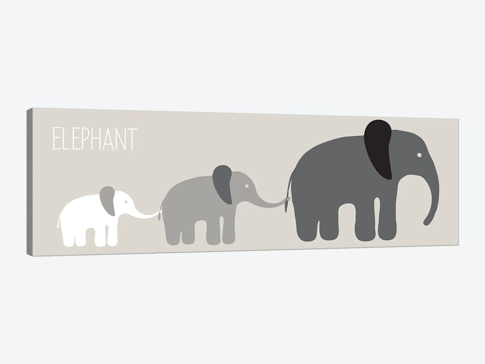 Elephant Parade Black by Kris Ruff 1-piece Canvas Art Print