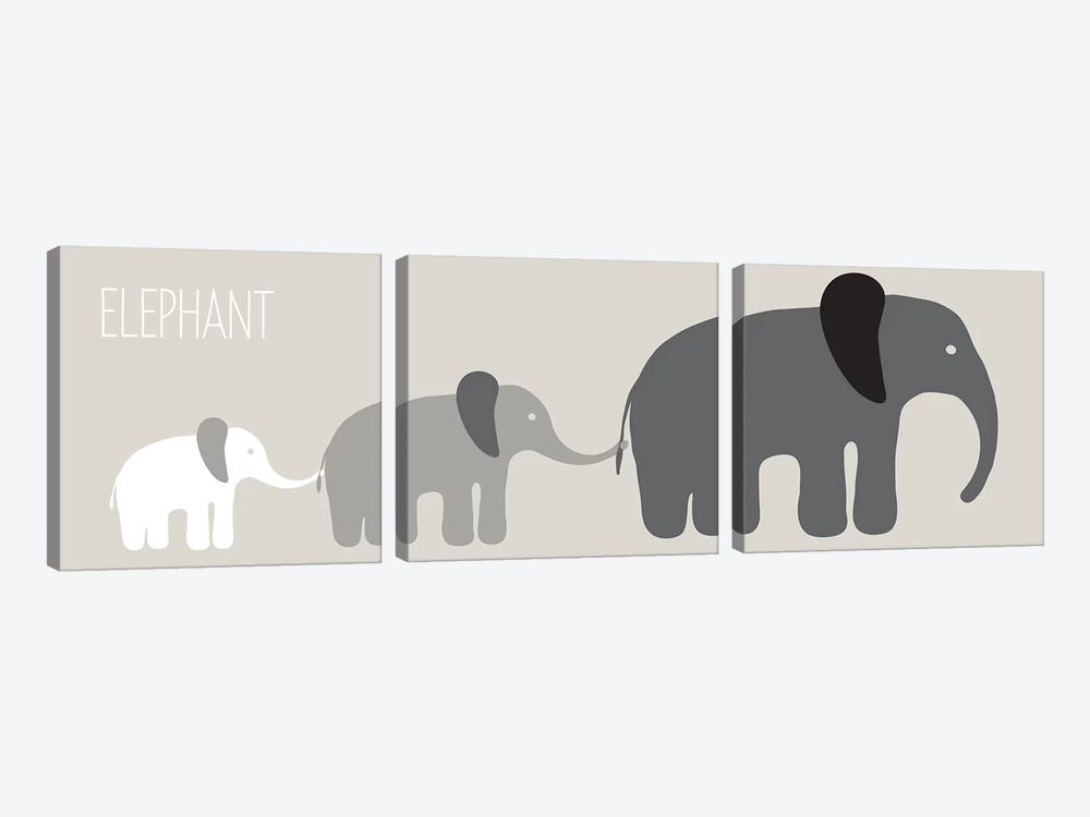 Elephant Parade Black by Kris Ruff 3-piece Art Print