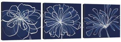 Pen & Ink Floral Triptych Canvas Art Print
