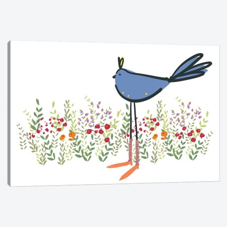 Bird in Garden Canvas Print #KRU4} by Kris Ruff Art Print