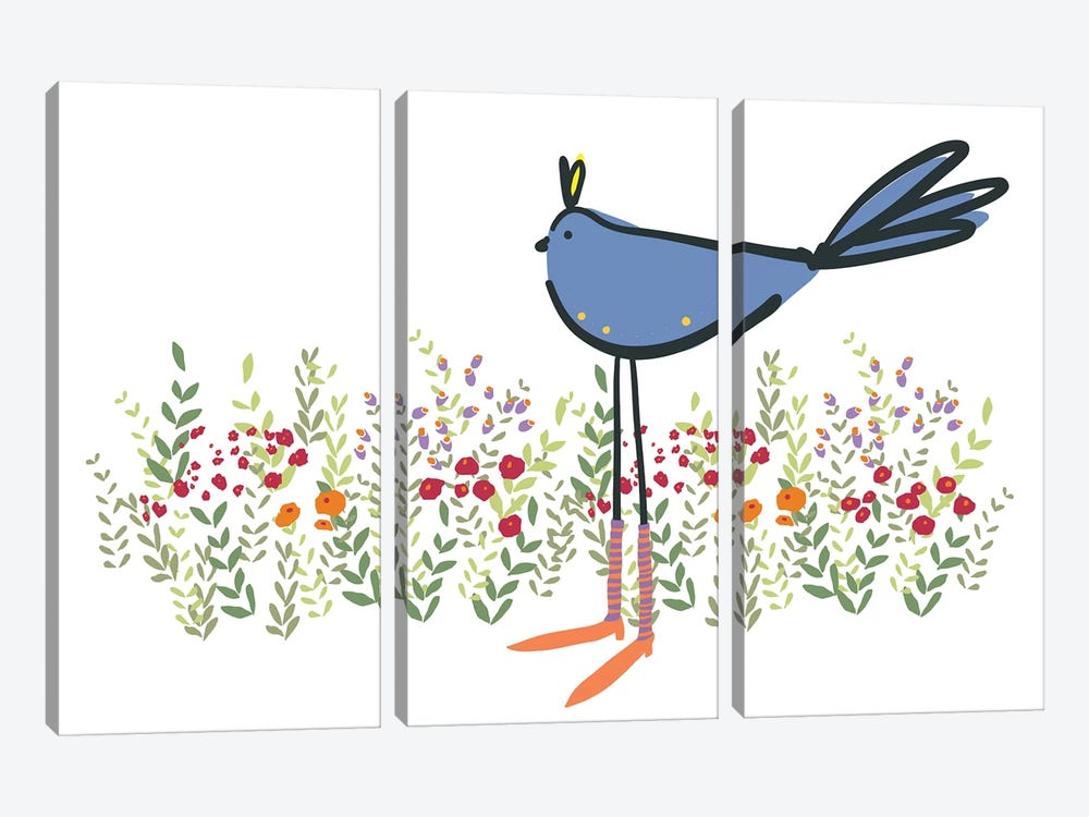 Bird in Garden by Kris Ruff 3-piece Art Print