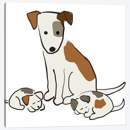Mom Dog And Puppies 3-Piece Canvas #KRU50} by Kris Ruff Canvas Wall Art