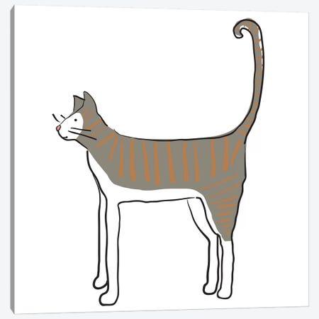 Orange Stripe Cat Canvas Print #KRU51} by Kris Ruff Canvas Wall Art