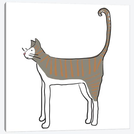 Orange Stripe Cat Canvas Print #KRU51} by Kris Ruff Canvas Wall Art