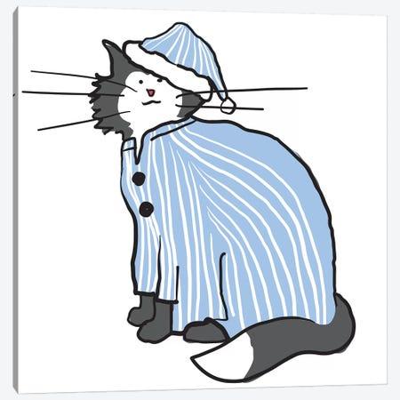 Pajama Cat Canvas Print #KRU52} by Kris Ruff Canvas Art