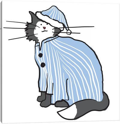 Pajama Cat Canvas Art Print