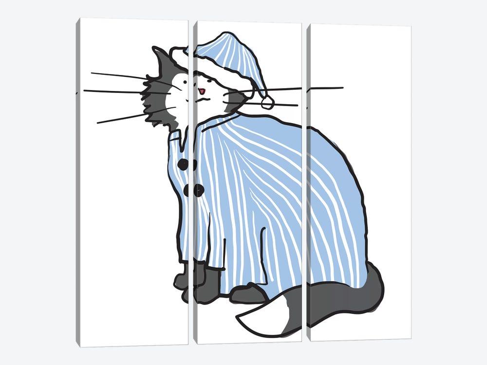 Pajama Cat by Kris Ruff 3-piece Canvas Wall Art