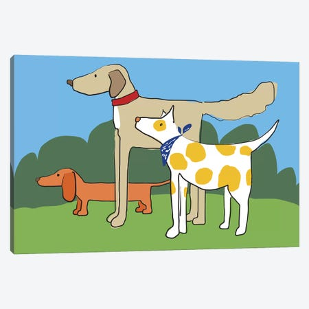 Three Dogs Friends Canvas Print #KRU67} by Kris Ruff Canvas Artwork
