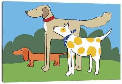Three Dogs Friends Canvas Art Print