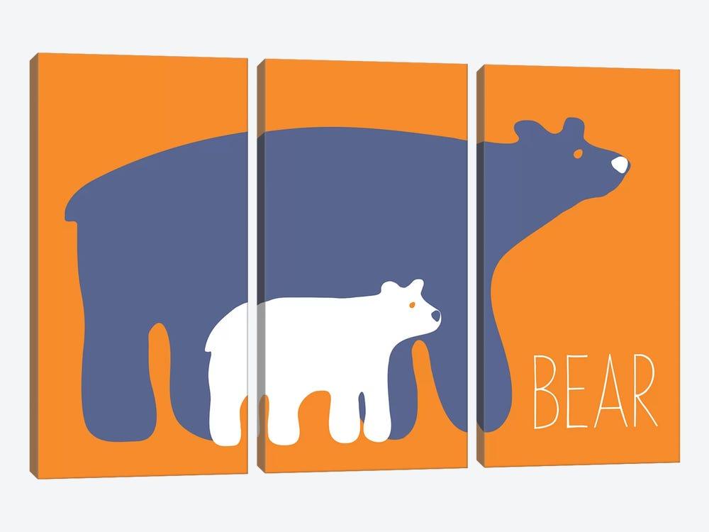 Zoo Bear by Kris Ruff 3-piece Canvas Artwork