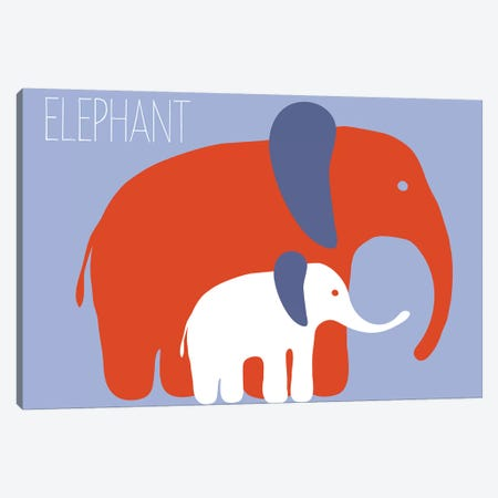 Zoo Elephant Canvas Print #KRU71} by Kris Ruff Canvas Art
