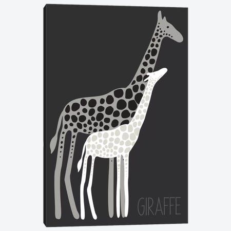 Zoo Giraffe Black Canvas Print #KRU73} by Kris Ruff Canvas Wall Art