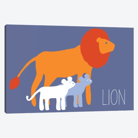 Zoo Lion 3-Piece Canvas #KRU74} by Kris Ruff Canvas Art Print