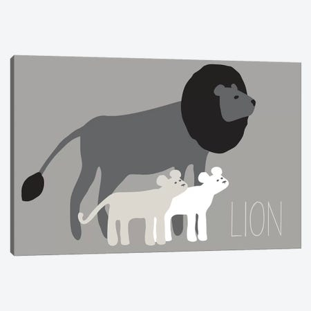 Zoo Lion Black Canvas Print #KRU75} by Kris Ruff Art Print
