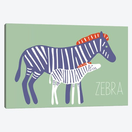 Zoo Zebra Canvas Print #KRU77} by Kris Ruff Canvas Art Print