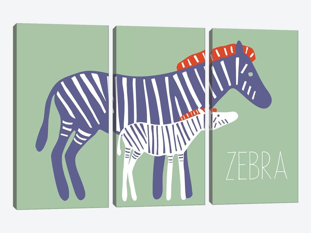 Zoo Zebra by Kris Ruff 3-piece Canvas Art Print