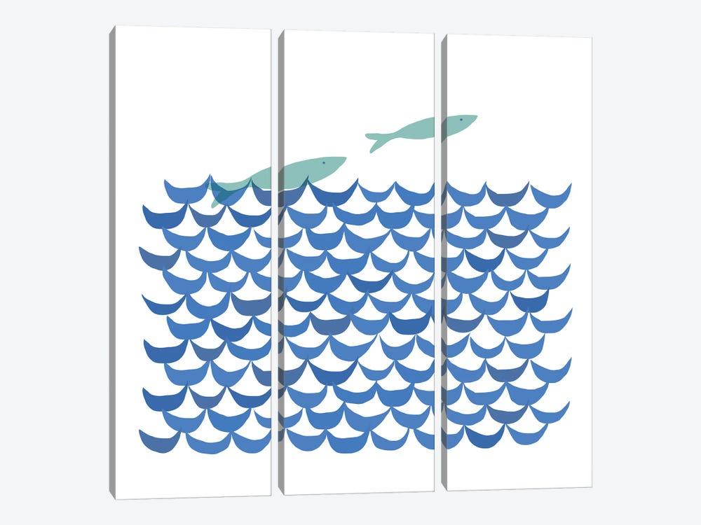 Deep Blue Sea by Kris Ruff 3-piece Canvas Art