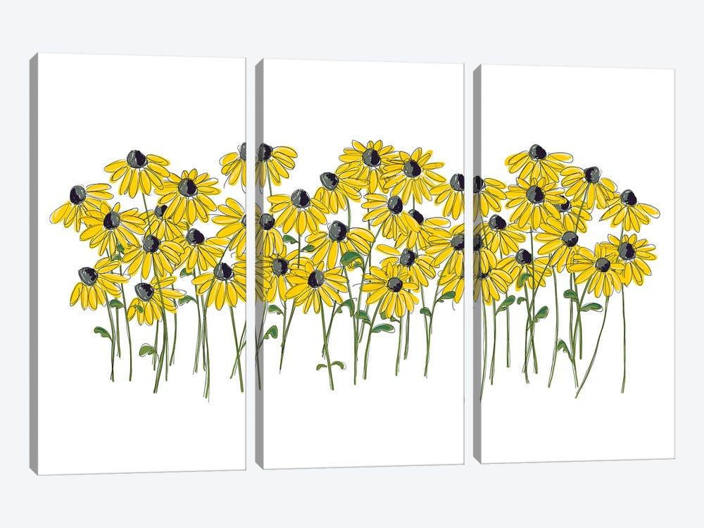 Lazy Daisy by Kris Ruff 3-piece Canvas Art Print