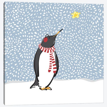 Penguin with Star Canvas Print #KRU91} by Kris Ruff Canvas Wall Art
