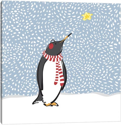 Penguin with Star Canvas Art Print