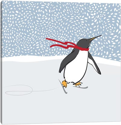Skating Penguin Canvas Art Print