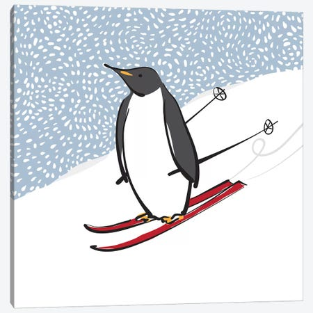 Skiing Penguin Canvas Print #KRU97} by Kris Ruff Canvas Art Print