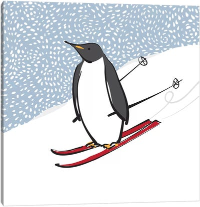Skiing Penguin Canvas Art Print