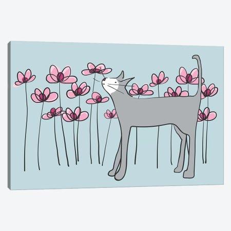 Cat In Garden Canvas Print #KRU9} by Kris Ruff Canvas Art