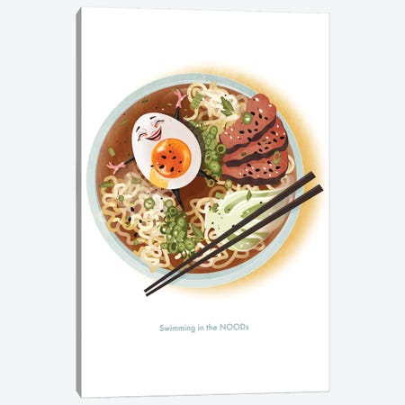 Swimming In The NOODS Canvas Print #KSD35} by Kitschy Delish Canvas Print