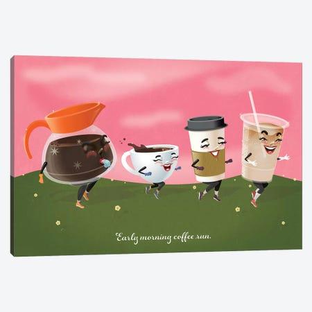 Coffee Run Canvas Print #KSD7} by Kitschy Delish Canvas Art