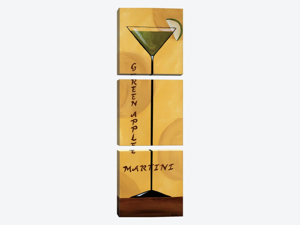 Apple Martini by Krista Sewell 3-piece Canvas Print