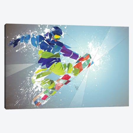 Snowboarding Canvas Print #KSK16} by Katia Skye Canvas Wall Art