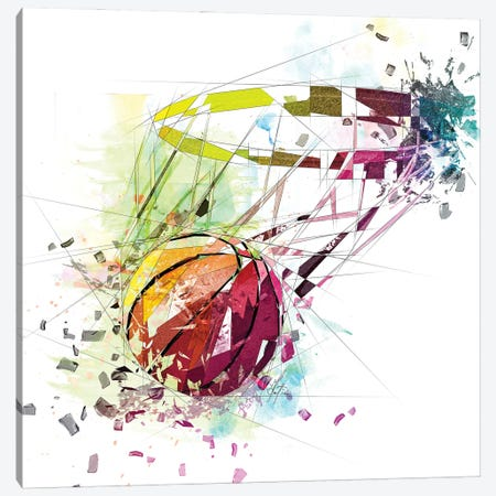Basketball And Net Canvas Print #KSK19} by Katia Skye Art Print