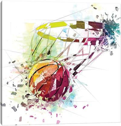 Basketball And Net Canvas Art Print