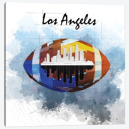 Football Los Angeles Skyline Canvas Print #KSK1} by Katia Skye Canvas Art