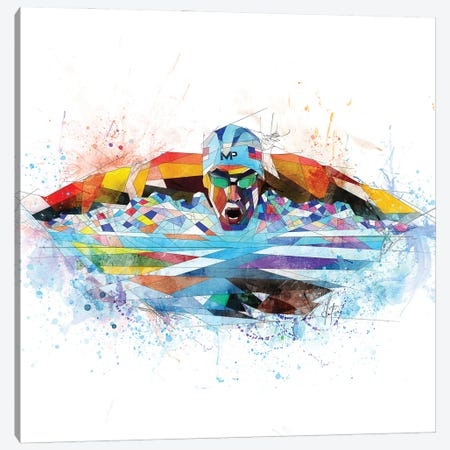 Michael Phelps Canvas Print #KSK27} by Katia Skye Canvas Print