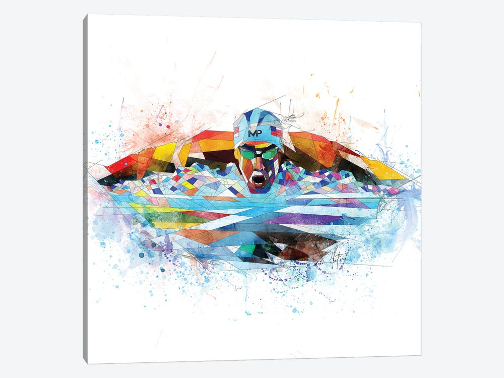 Michael Phelps by Katia Skye 1-piece Canvas Wall Art