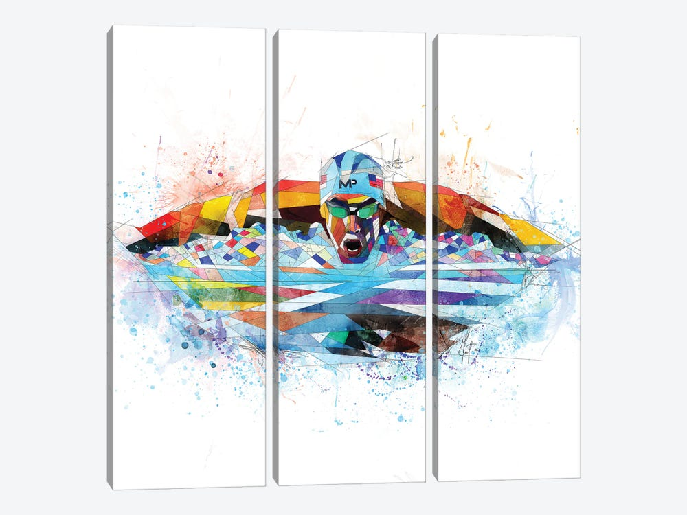 Michael Phelps by Katia Skye 3-piece Canvas Artwork