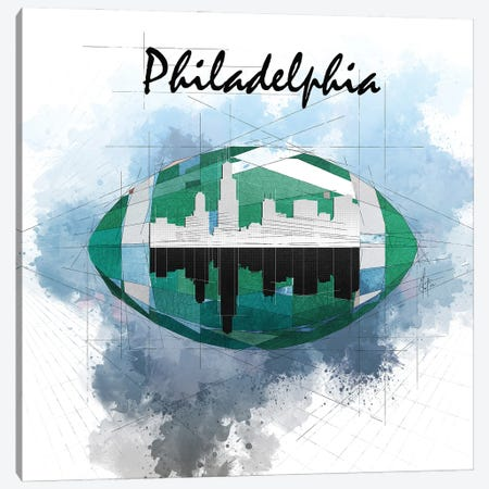 Football Philadelphia Skyline Canvas Print #KSK2} by Katia Skye Canvas Artwork
